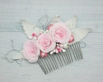 White Garden Rose Hair pink rose hair comb | etsy