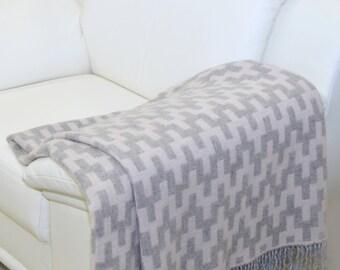 Warm Throw Blanket - Warm Wool Blanket - Big Blanket Wool - Large Blanket Wool - Wool Couch Cover - Bedspread Wool - Tassels Blanket