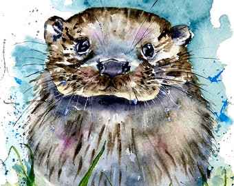 A 14 inch square digital print of Ollie Otter from a watercolour by Pauline Merritt