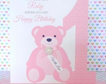 Personalised Handmade Boy or Girl Teddy Bear Birthday Card 1st, 2nd, 3rd  Daughter, Niece, Son, Nephew