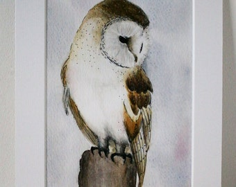 "Fine Art Giclée Print, Barn owl, watercolour 8 X 10"" by TheWildThingsArt"
