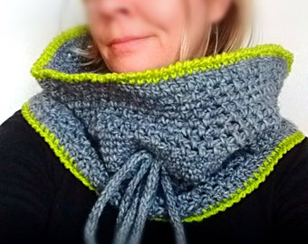 Crochet cowl scarf chunky infinity neckwarmer unisex shoulder cape capelet in wool grey green warm cozy winter accessory READY TO SHIP