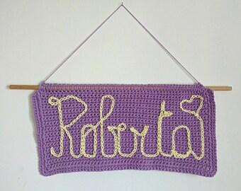Crochet plaque name tag garland banner festoon name plate for wall crochet name banner wall hanging crochet wall art crochet sign CUSTOMIZED