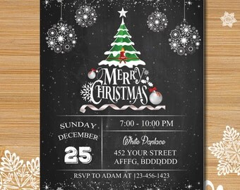 Christmas party invitation, Xmas party, New year party invitation, Rustic winter invitation, Wood and snow christmas invitation # 134