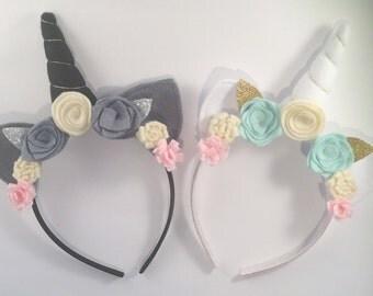 Unicorn headband set, flower crown - Twins