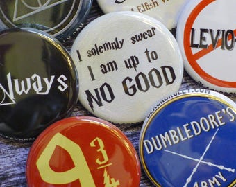 "Harry Potter buttons 1.25"" / 32mm pins pin back badges / 9 3/4, Weasley is our King, Leviosa, Potter Stinks, Always, Deathly Hallows, SPEW"