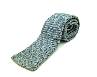 Rooster Skinny Square End Knit Tie, Gray 100% Cotton Cottonit, Gift for Him Boyfriend Dad Father's Day Gift Idea, Dress Down Casual Tie