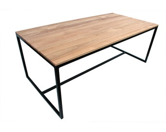 Dining Table Klemens-200 x 100cm solid wood oak-loft Industrial