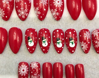 Snowman Fake Nails * Faux Nails * Glue On Nails * Red Nails * Snowman * White Dots * Round Tip Stiletto Nails * Gloss Nails