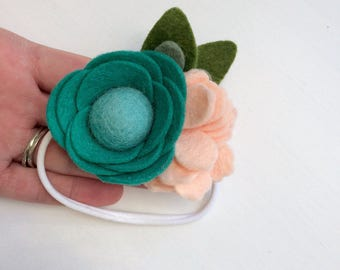 Cluster flowers with teal and mint rose and  peach blossom with green leaves - alligator clip - headband