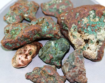 1.+# Copper Nuggets - Copper Chunks - Mineral Specimens - Jewelry, Display, Meditation, Metaphysical, Healing, Chakras, Patina, Display