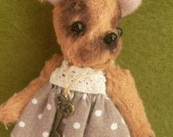 Teddy friend Puppy Tosjka Miniature toy Little dog Stuffed toy Handmade OOAK Toy by Palitratoys