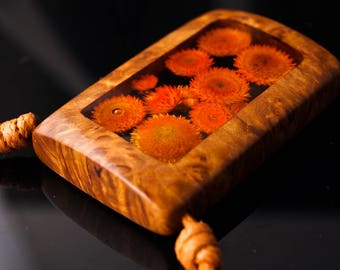 Orange Flowers in Clear Resin and Wood Pendant; Flower and Resin Jewelry, Rustic Wood and Resin Pendant, Resin Jewelry