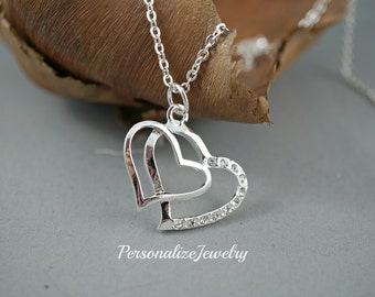 Double heart necklace, Silver heart necklace, Simple jewelry, Cubic zirconia, Charm necklace, Heart intertwined, Love Friendship Gift