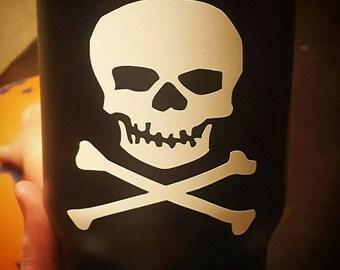skull decal, skull and crossbones decal, skull sticker, skull monogram, skull car decal