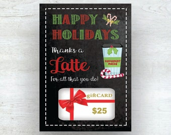 PRINTABLE Christmas Gift Card Holder Thanks A Latte - INSTANT DOWNLOAD - Thank You Coffee Starbucks Teacher Appreciation Coach Gift, C104