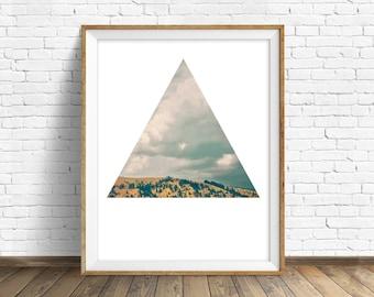 "landscape wall art print, instant download printable art, large wall art, geometric minimalist art prints, modern decor, art - ""Stormy Days"""