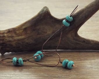 Howlite and Copper Hoop Earrings