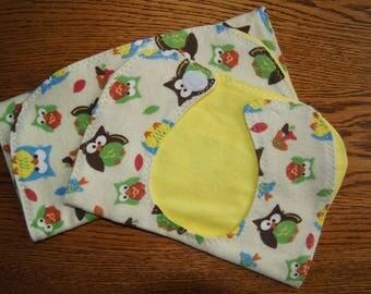 Bib and Burpcloth Set: Owls