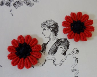 Appliques of Two Red Flowers 60's Appliques Sew On Dead Stock Never Used