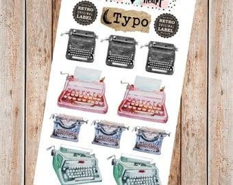 Vintage typewriter watercolor planner stickers