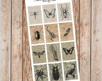 Vintage insect illustrations Postage Stamp planner stickers