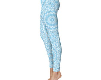 Baby Blue Yoga Leggings, Blue Leggings, Blue and White Printed Leggings, Mandala Art Tights, Blue Stretch Pants