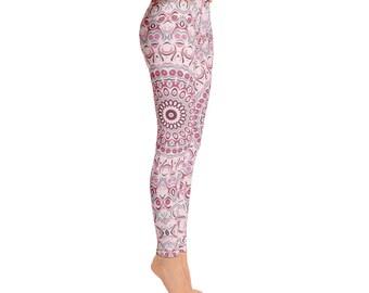 Yoga Pants Pink - Womens Yoga Leggings, Print Leggings, Antique Pink Mandala Print Pants, Stretch Leggings, Stretch Pants Women