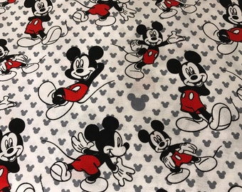 Mickey Mouse on white background fabric, Disney fabric, Mickey, cartoon fabric, Mickey fabric, Mickey heads fabric