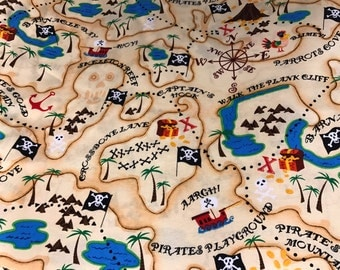 Pirate treasure map fabric, map fabric, pirate fabric, pirates, Captain Hook map, novelty fabric