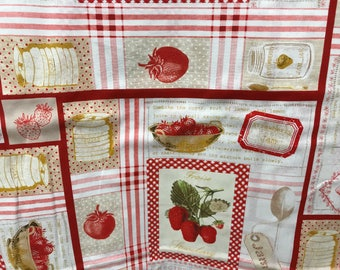 Vintage retro style 1950's kitchen fabric, strawberry jam fabric, 50's style fabric, novelty fabric, retro style, retro housewife,  canning