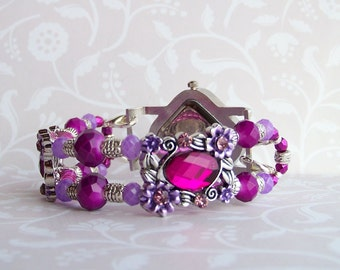 Fuchsia & LavenderCrystals with 2 ornate CabachonCenterPieces and Silver Interchangeable StretchBand w SilverDiamond WatchFace w Rhinestones