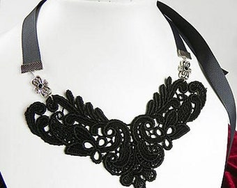 Black Lace Bib Necklace pendant, Lace fabric Necklace, Textile jewelry, Flower Necklace on ribbon, Wedding Necklace,Victorian Style,Gift Her