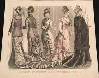 1878 French Fashion Print, Hand-Colored Print by JH Camp, Godey's Fashions Antique Print