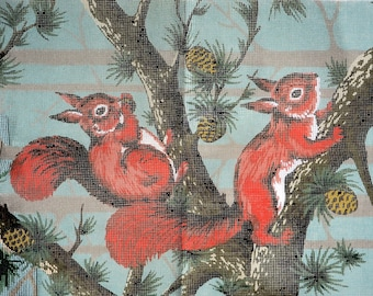 Large vintage printed needlepoint canvas of red squirrels.