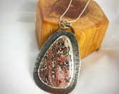 Unique, One-of-a-Kind Leopard Skin Jasper Pendant, set in Sterling Silver w/ Handstamped Details
