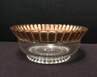 Vintage Clear Glass Bowl with Gold Edge