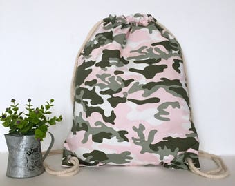 Camouflage drawstring backpack, Camouflage Canvas backpack, Canvas drawstring backpack, Drawstring bag, Hipster backpack, School backpack