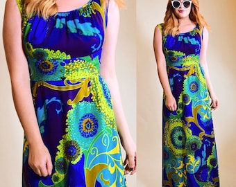 Vintage 1960's psychedelic floral sleeveless maxi dress women's size small