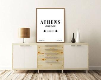 ATHENS PRINT, Athens Greece, Athens Poster, Athens Map, Athens Coordinates, Greece Map, Typography Print, Printable Art, Minimalist Poster
