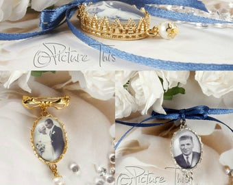 Bridal Bouquet Photo Charm, Custom Photo charm, Silver Photo Charm, Gold Bouquet Charm, Bouquet Brooch, Memorial Photo Charm, Wedding Charm.