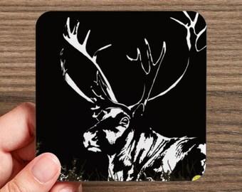 4 Coasters, Canada, nature, reindeer, caribu, reindeer image, reindeer drawing, reindeer illustration, caribou image, caribou drawing