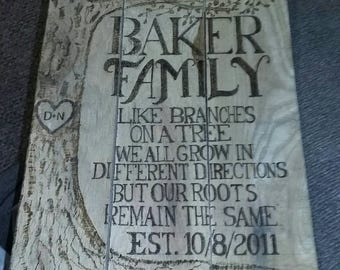 Family Tree wood burned sign,  Like Branches on a tree we all grow in different directions but our roots remain the same, custom rustic sign