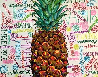 Pineapple Illustration Sharpie Marker Illustration//Colourful Drawing