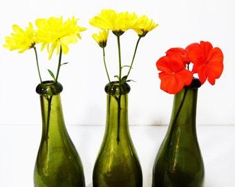3 Glass blowing bottles vintage '50s - home decor - handmade glass bottle - vintage bottle - antique bottle - italian bottle - wine bottle