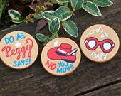 """Marvel Agent Peggy Carter Red Hat """"No You Move"""" Feminist Quote - Original Custom Hand Painted Wooden Brooch Pin Badge Button - Novelty Gift"""