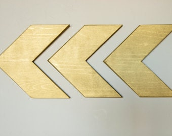 Wall Chevron Arrows - Set of 3 Wood Arrows-Arrow Signs-Wood arrows-Chevron Arrows-Rustic Arrows- Gold arrows-Wood Arrows-Gallery wall-decor