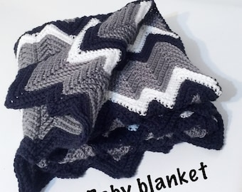 Chevron baby blanket, Navy, white and grey - 36 inches x 36 inches - gift - shower gift