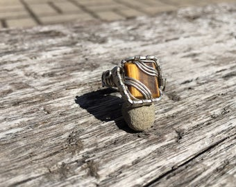 Tigers eye silver ring