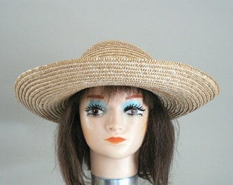 Womens Large Straw Sun Hat With Back Bow